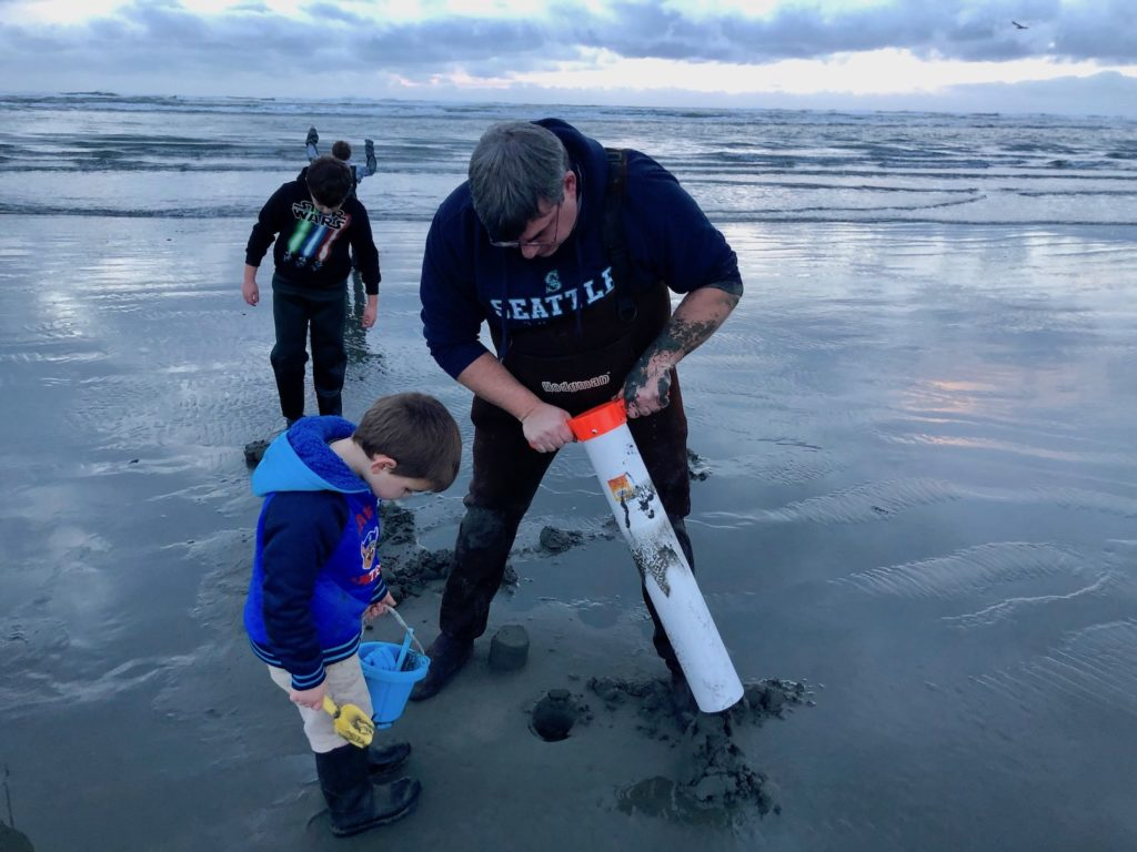 Washington coast clamming